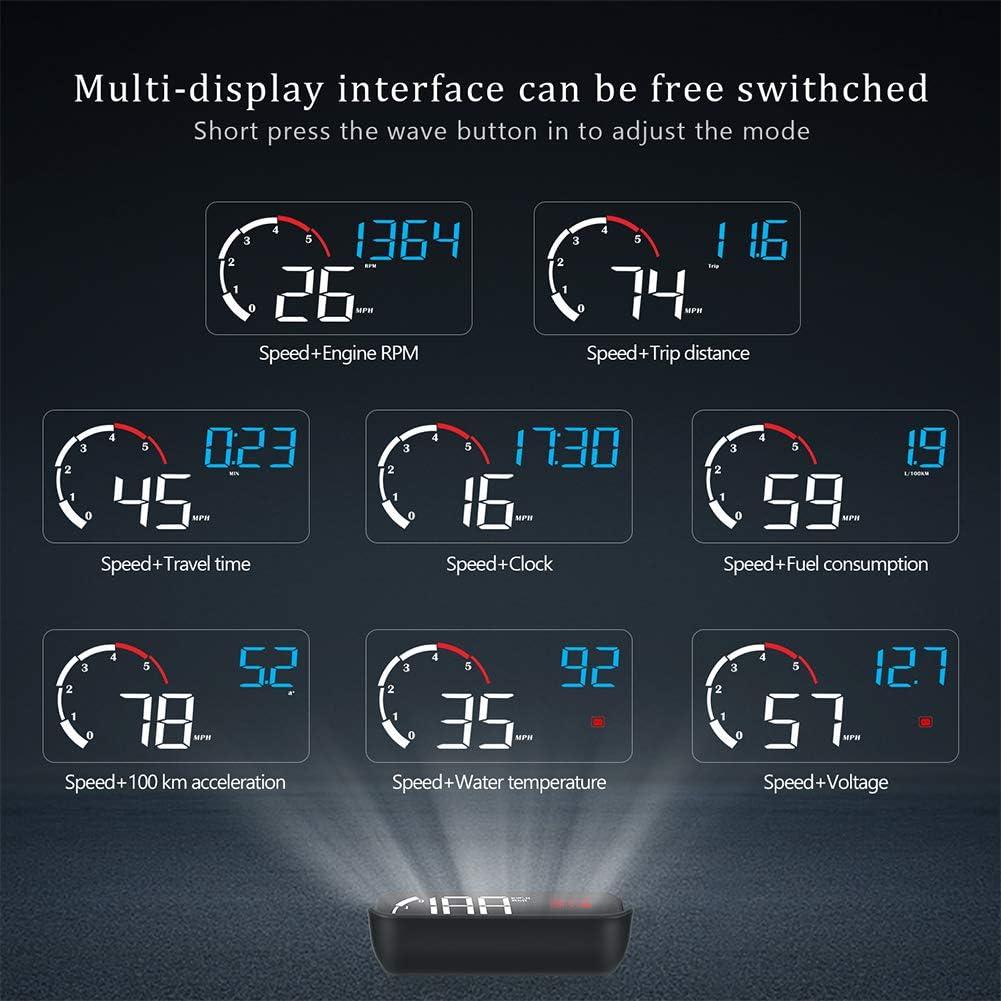 Display HUD per Auto GPS Smart Gauge Tachimetro ad Alta Definizione Strumento diagnostico per Auto Eliminazione del codice di Errore OBD Guida sicura Allarme di Errore OBDⅡ Irfora Display Head-Up