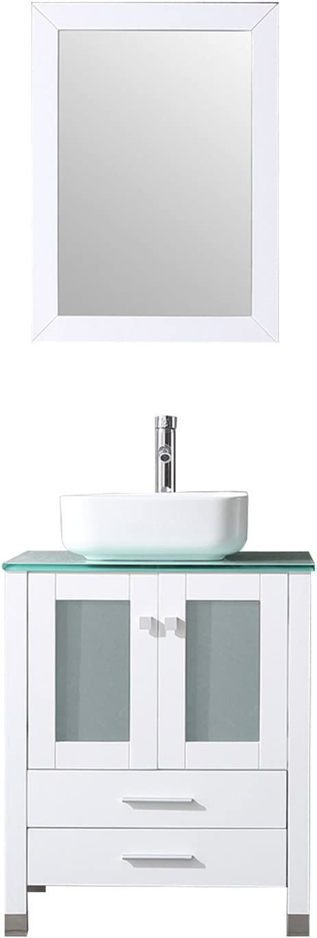 BATHJOY 24 Inches Bathroom Vanity Set Wood Cabinet Top Square Ceramic Vessel Sink Combo Faucet Drain with Mirrors