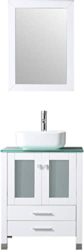 BATHJOY 24 Inches Bathroom Vanity Set Wood Cabinet Top Square Ceramic Vessel Sink Combo Faucet Drain
