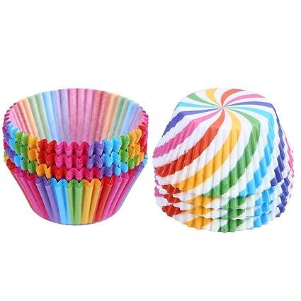 LOKIPA® 200 Cajas de Papel para Cupcakes de arcoíris para Magdalenas y Magdalenas, para