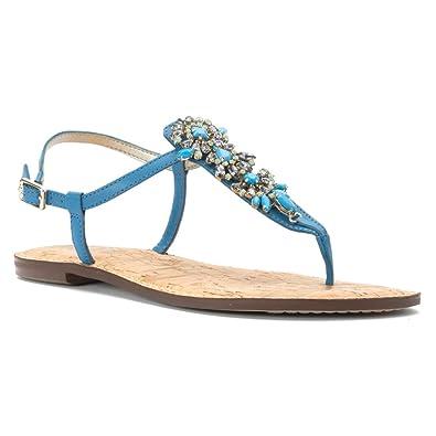 Womens Sandals Sam Edelman Gene Malibu Blue Vaquero Saddle Leather