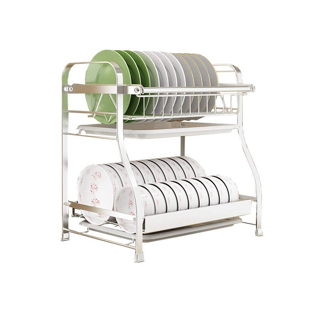 Multi-Function Modern Kitchen Shelf Oven Rack Microwave Oven Rack 2-Tier with 4 Hooks Storage Rack Spice Rack Storage Shelves Shelf (L57cm X W38cm X H38cm)