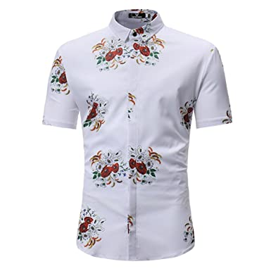 9d1196947 Men Fashion Summer Floral Short Sleeve Slim Shirts Tops for 2019 Polo Shirt  Casual Fit Graphic
