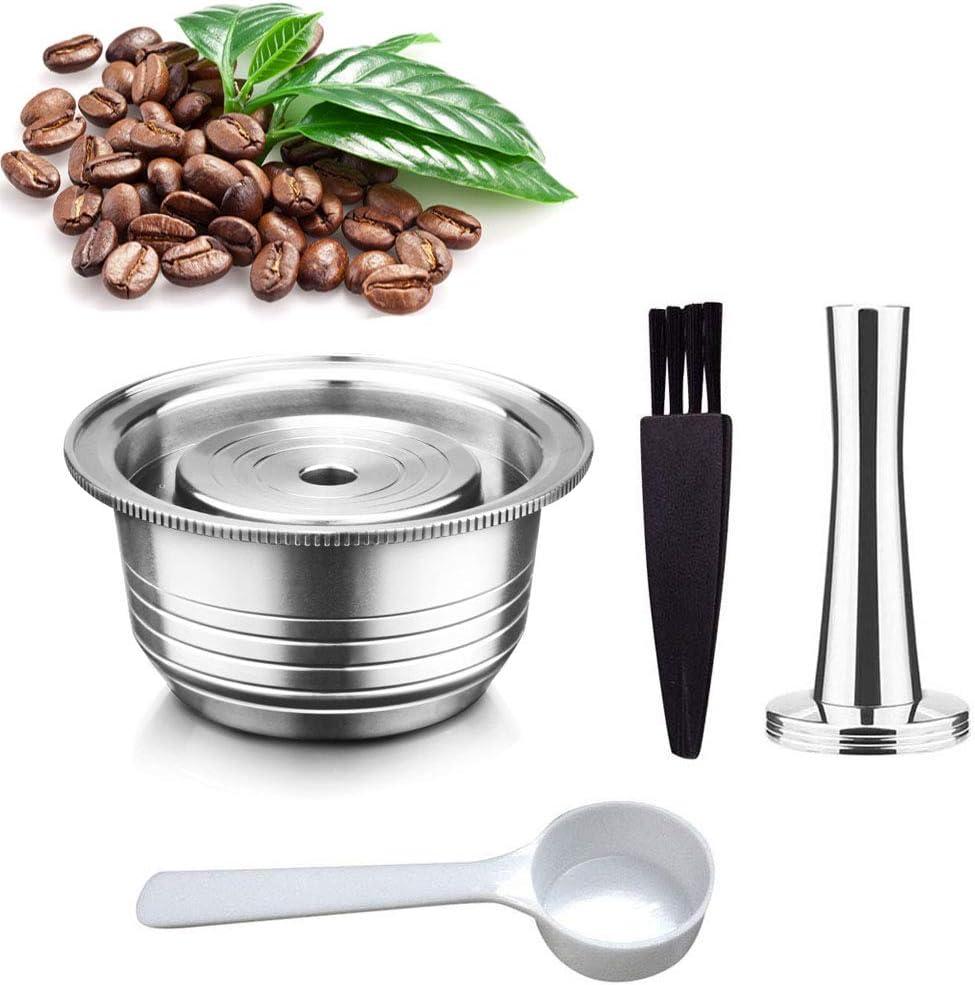 Volwco cápsulas de café Reutilizables para cafetera Nespresso Vertuolline GCA1, Delonghi ENV135, cápsula de café Recargable de Acero Inoxidable con 1 Cuchara de plástico, 1 Cepillo de Limpieza: Amazon.es: Hogar