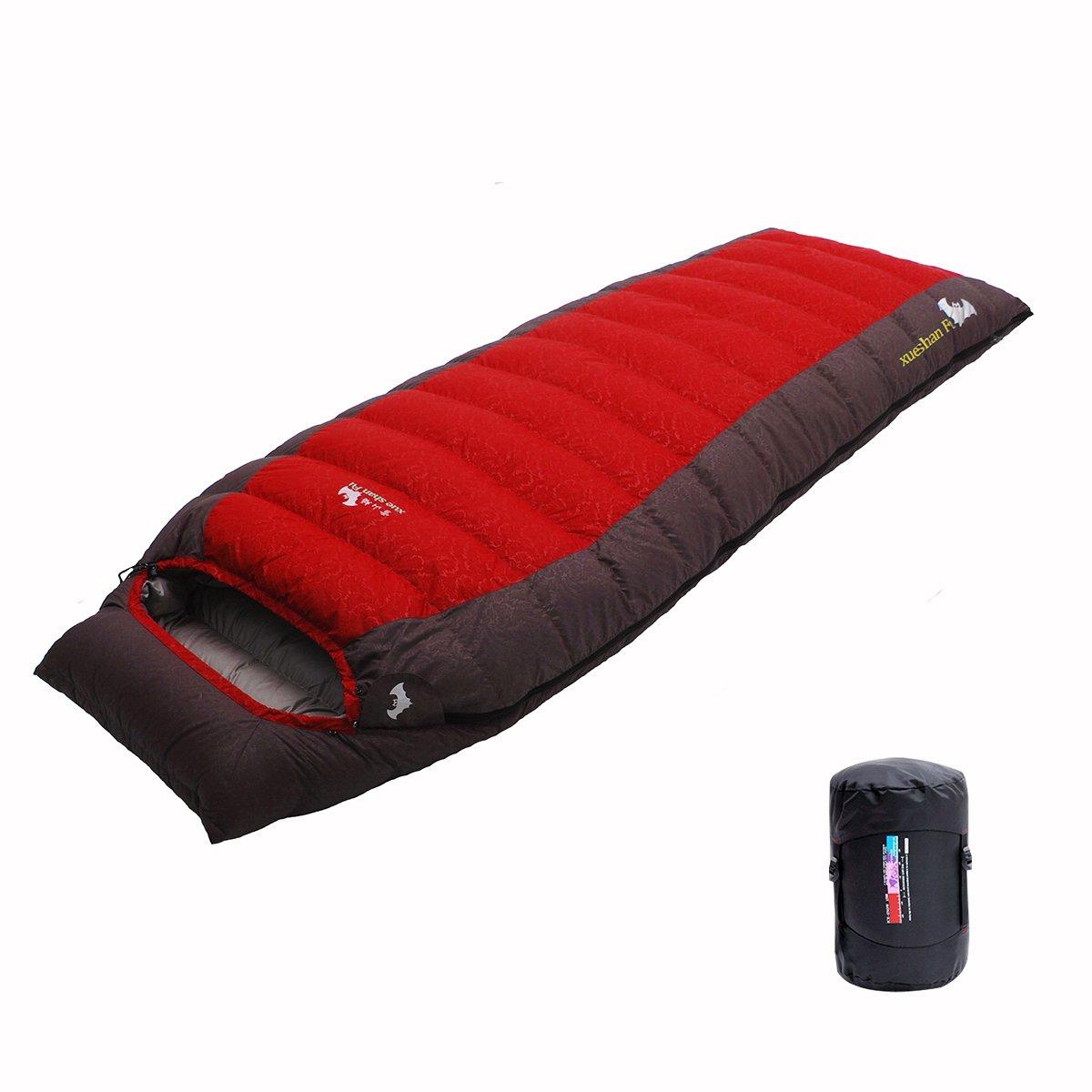 LMR Sacos de dormir rectangulares Al aire libre Ultraligero rectangular abajo saco de dormir para Camping con bolsa de compresión (Azul) xueshanFu