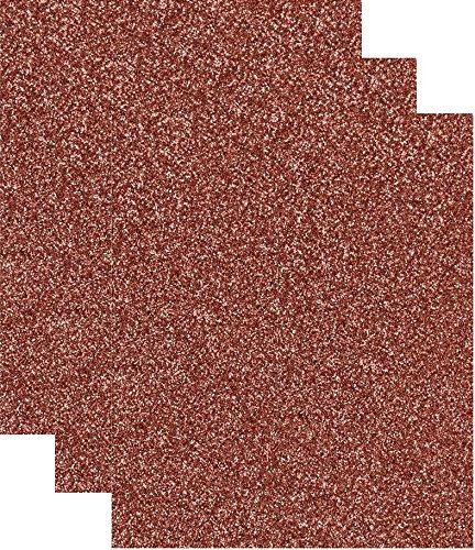 Siser Glitter Heat Transfer Vinyl HTV for T-Shirts 10 by 12 Inches (1 Foot) 3 Precut Sheets (Rose Gold)