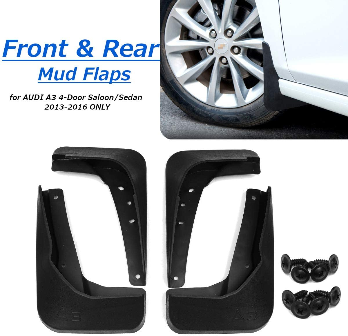 Easy Fit Splash Guards//Fender Flares Car Mudguards For Au di A3 Hatchback 2013-2016 New Black Front And Rear Wide Mudflaps Complete With Mounting Screws 4 Pieces Set