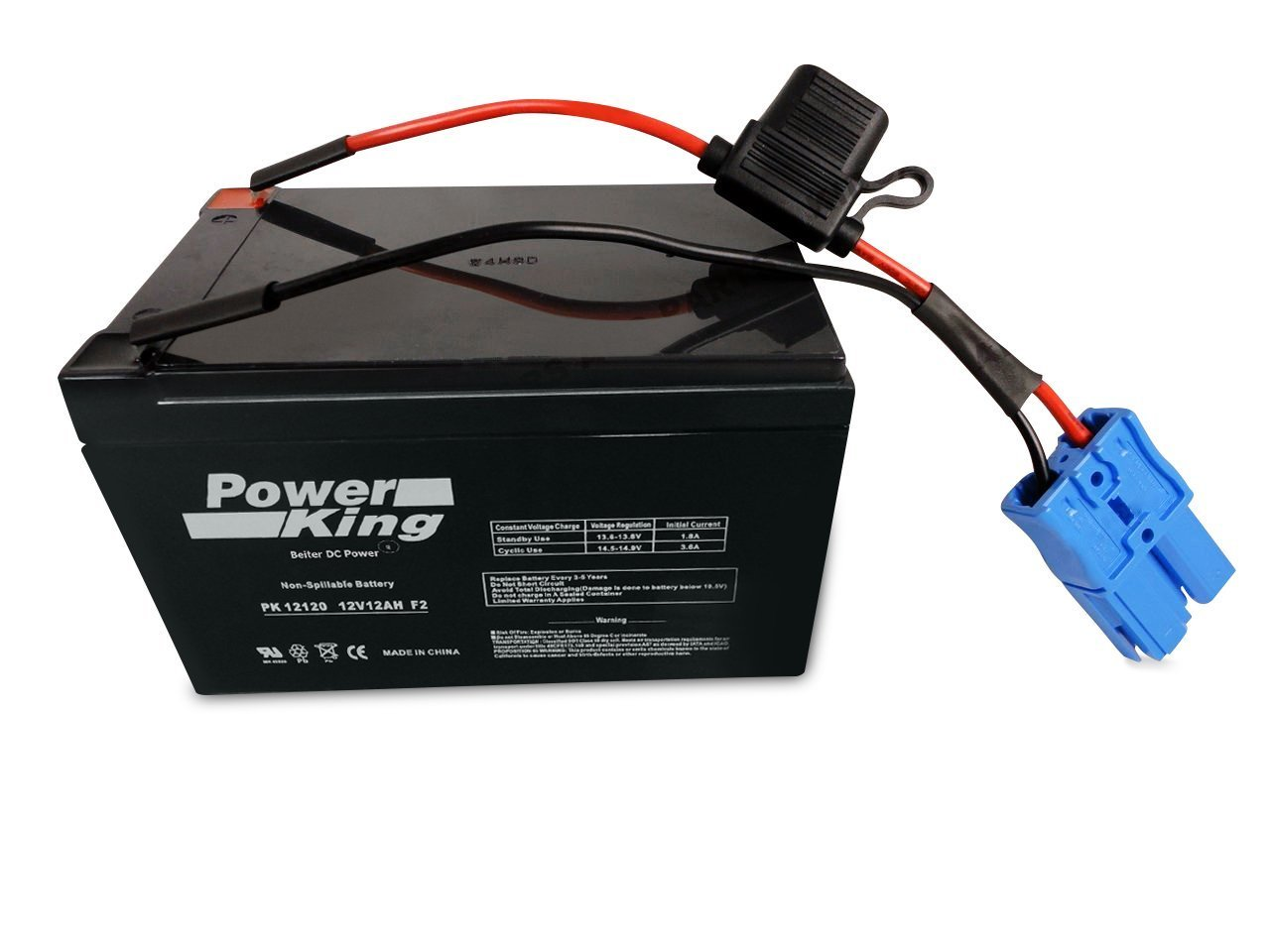Kid Trax 12 Volt Replacement Battery 12V 12AH with Large Blue Plug Anderson Power On The Blue Plug Beiter DC Power