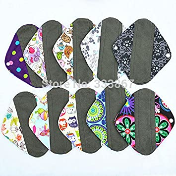 "5dfda9a54eeac 6 Pieces, Panty Liners 8"" Reusable Washable Charcoal Bamboo Cloth Pad,  Menstrual Sanitary"