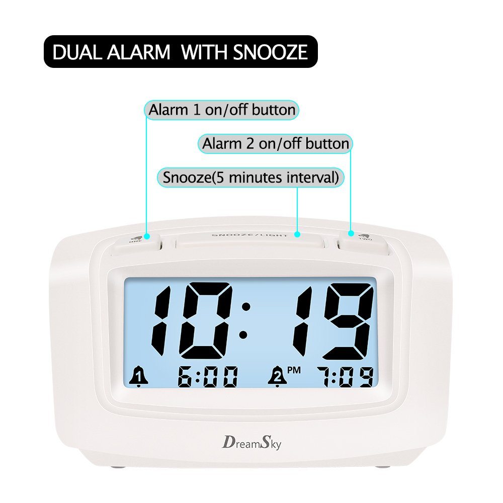 DreamSky Dual Alarm Clock with Smart Adjustable Nightlight, Snooze, Large LCD Display, Portable Battery Operated, Ascending Alarms Sound, Simple Operate Clock for Bedroom Kids by DreamSky (Image #2)