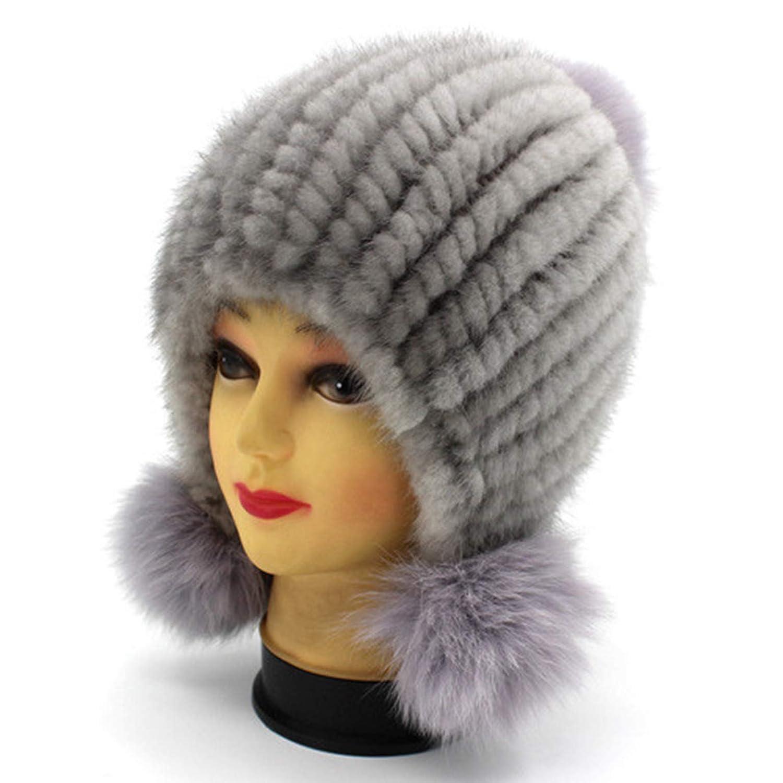 2 SANOMY Womens Winter Knitting Beanies Hat,Fashion Natural Beanies Caps Elastic Hat Skullies Pom Poms