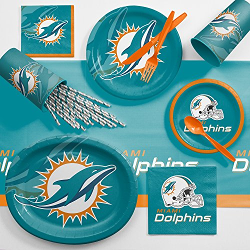 Creative Converting Miami Dolphins Ultimate Fan Party Supplies Kit, Serves 8 -