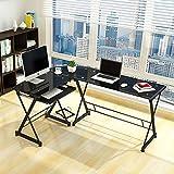 NRG Corner Desk Computer Home Office Desks PC Glass L-Shape Laptop Table Workstation Black
