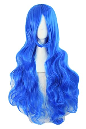 Pelucas largas onduladas del pelo rizado Pelucas llenas del cordón pelucas sintéticas (azul)