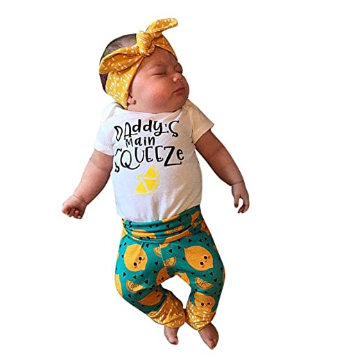 SMALLE Clearance Baby Boys Girls Letter Printed Lemon Cartoon Romper  Jumpsuit Pants Set Outfits 3pcs ( d5dcabd40