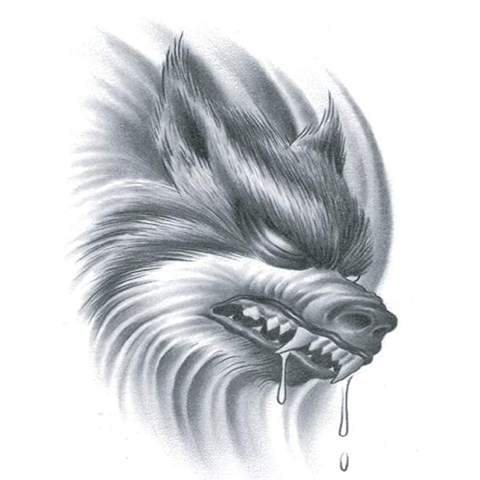 adgkitb 5piezas Lobo Tatuaje Pegatina Impermeable Temporal Tatuaje ...