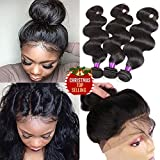 Indian Virgin Hair Body Wave 360 Lace Frontal Closure with Bundles 8A Unprocessed Body Wave Human Hair with 360 Frontal Body Wave 360 Lace Frontal with Bundles (18 20 22+16 360frontal, Natural Color)