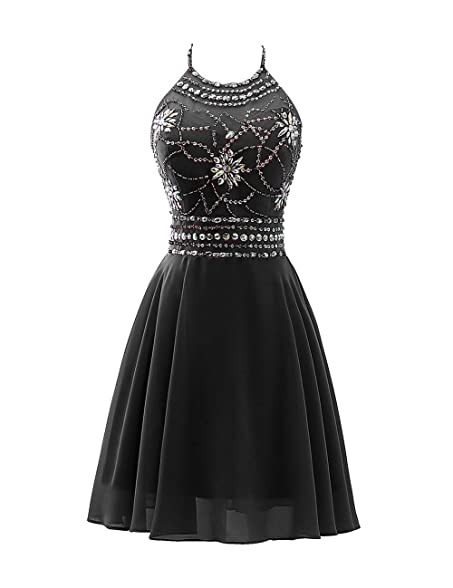 Anmor Juniors Short Homecoming Dresses Beaded Bodice Chiffon Cocktail Prom Gowns Black US2