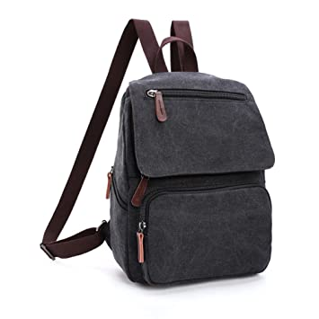 445a726b2c Toupons Small Canvas Backpack for Gilrs   Boys Kids School Rucksack  (Black)