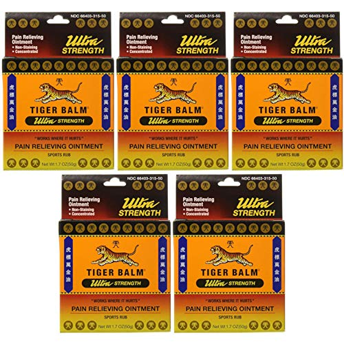 Tiger Balm Sport Rub Pain Relieving Ointment, Ultra Strength 1.70 oz (Pack of 5)