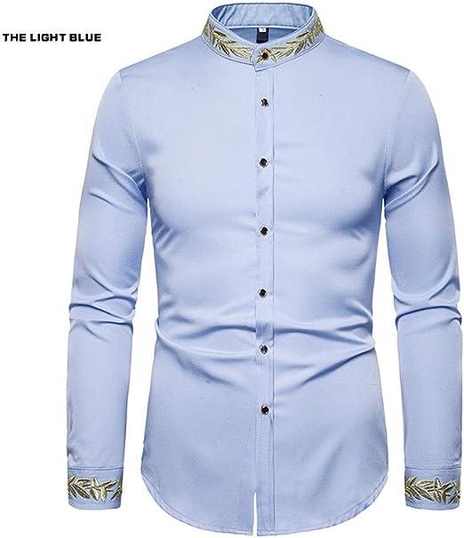Zhongsufei Camisa de Vestir para Hombre Camisa Informal Camisa Bordada patrón de la Manera Bordado Henry Cuello Camisa de Manga Larga de los Hombres Americanos del Estilo Occidental Camiseta Slim Fit: Amazon.es: