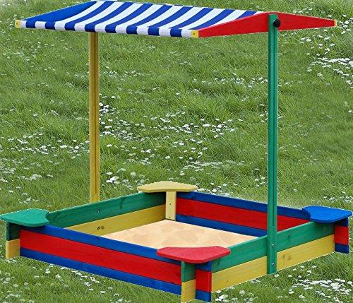 Sandkasten 4-Eck mit 4 Sitzen MIT DACH wetterfest - Sandkiste Sandbox Spielkasten Holzkiste Sandspielkasten