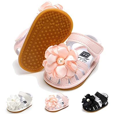 99d39370aa3 BENHERO Infant Baby Girl Summer Sandals with Flower Non-Slip Soft Sole Newborn  Toddler First