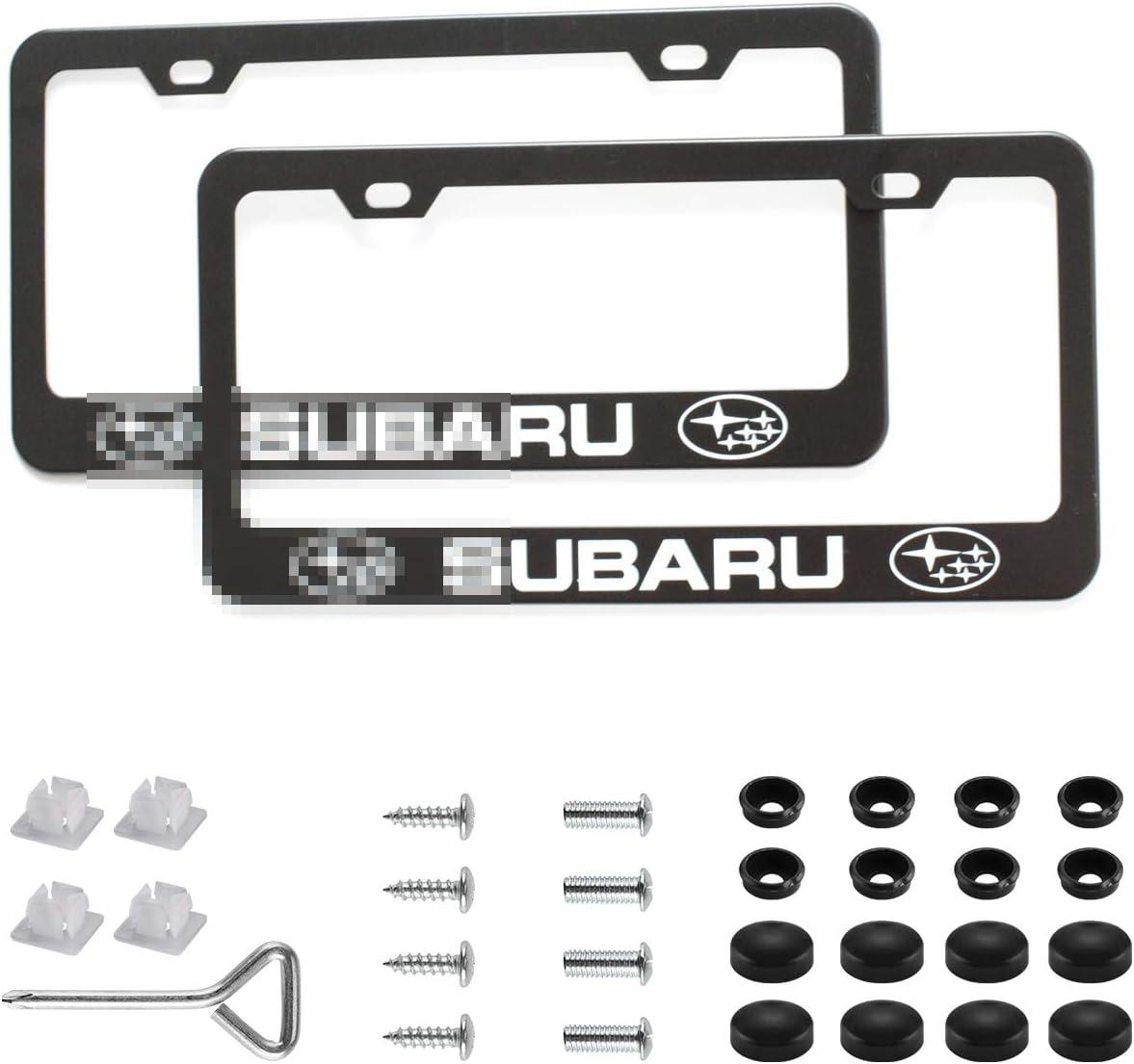 2Pcs Newest Matte Aluminum Alloy Subaru Logo License Plate Frame,with Screw Caps Cover Set,Applicable to US Standard car License Frame, for Subaru(Matte Black)