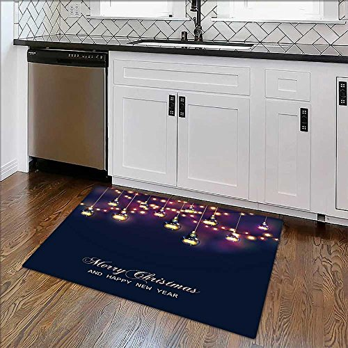 Bathroom Rug Carpet Christmas and New Year card with festive garland lights and light bulbs Vector Anti Bacterial,Latex W39
