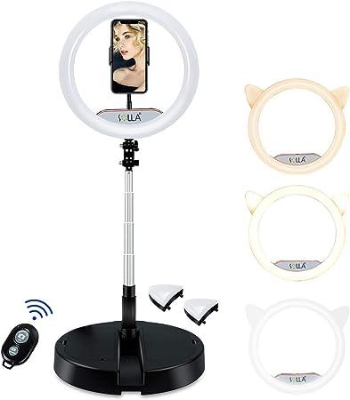 Todo para el streamer: Anillo de luz para Selfie Plegable portátil de 12 '' para transmisión en Vivo/Maquillaje, Anillo de luz LED Regulable para Youtube y TikTok con 10 Niveles de Brillo y 3 Modos de luz