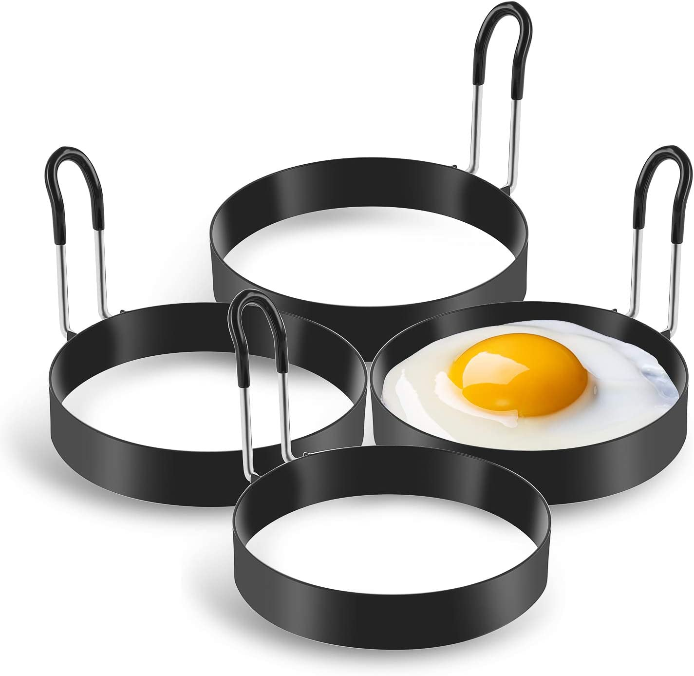 Long handle Mini Pancakes and Yorkshire Puddings Suitable 4 Pcs Round Pancake Mold Non-Stick Egg Shaper Stainless Steel Poachette Rings for Fried and Poached Eggs Crumpets Allnice Egg Rings