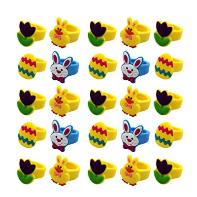 Amosfun Animal Finger Rings Easter Finger Puppets Figures Rings Toys Jewelry Gift Party Favors for Kids Girls Party Stocking Stuffers 25pcs (Random Pattern): Home & Kitchen