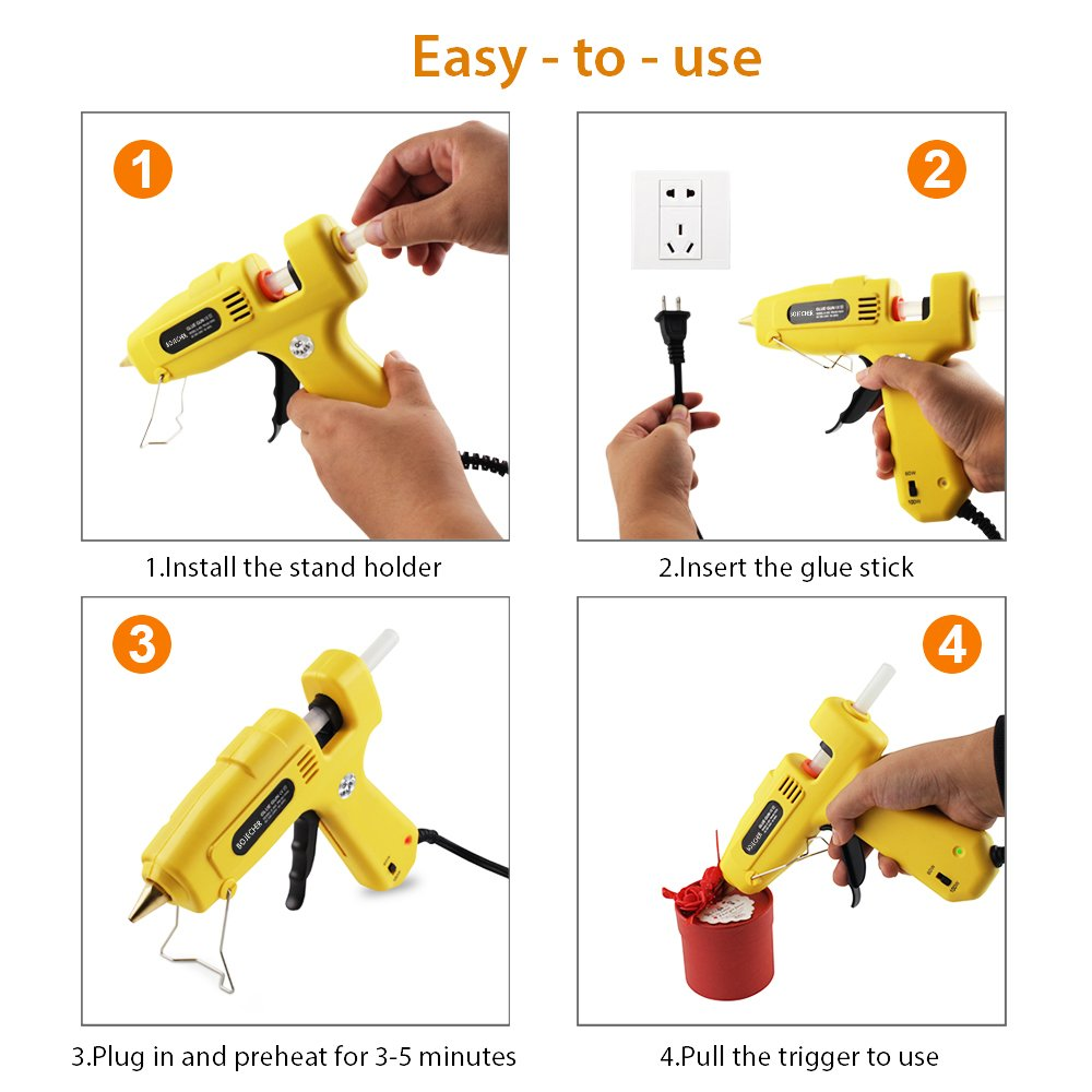 Hot Glue Gun, BOJECHER Full Size 60/100W Dual Power Hot Melt Glue Gun with 20pcs Glue Sticks (0.43 x 7.8) High Temperature Melt Adhesive Glue Gun Kit for Home DIY Craft Projects and Industrial Repair by BOJECHER (Image #6)