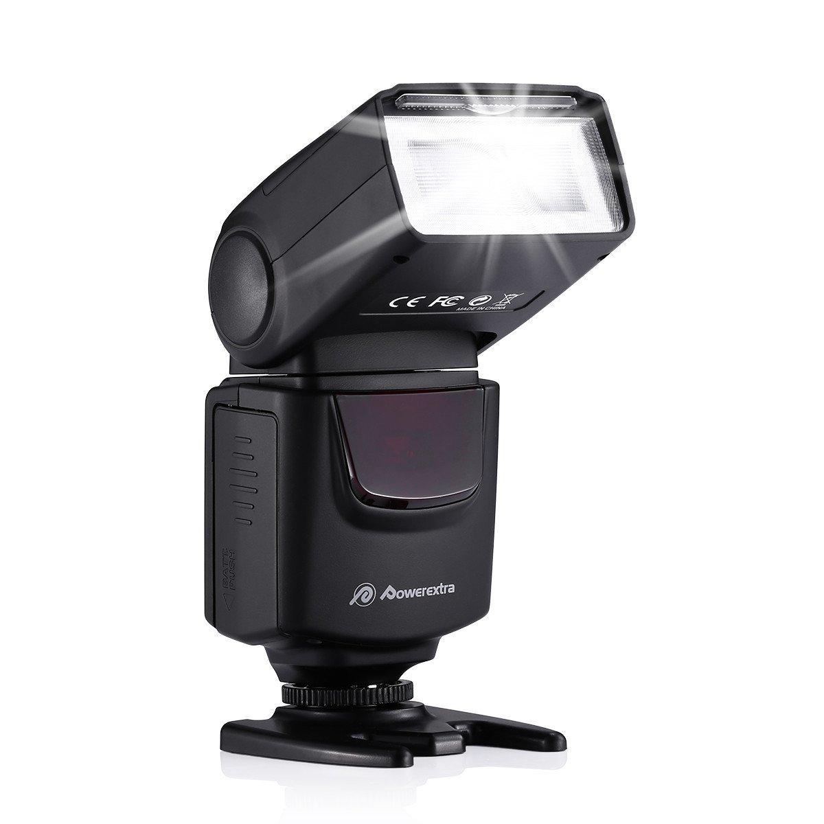 Powerextra Professional DF-400 Speedlite Camera Flash for Canon Nikon Pentax Samsung Fujifilm Olympus Panasonic Sigma Minolta Leica Ricoh DSLR Cameras and Digital Cameras with Single-Contact Hotshoe
