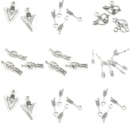 Antique Silver Plated Jewelry Making Charms Heart Arrow Connector Arrowhead Head