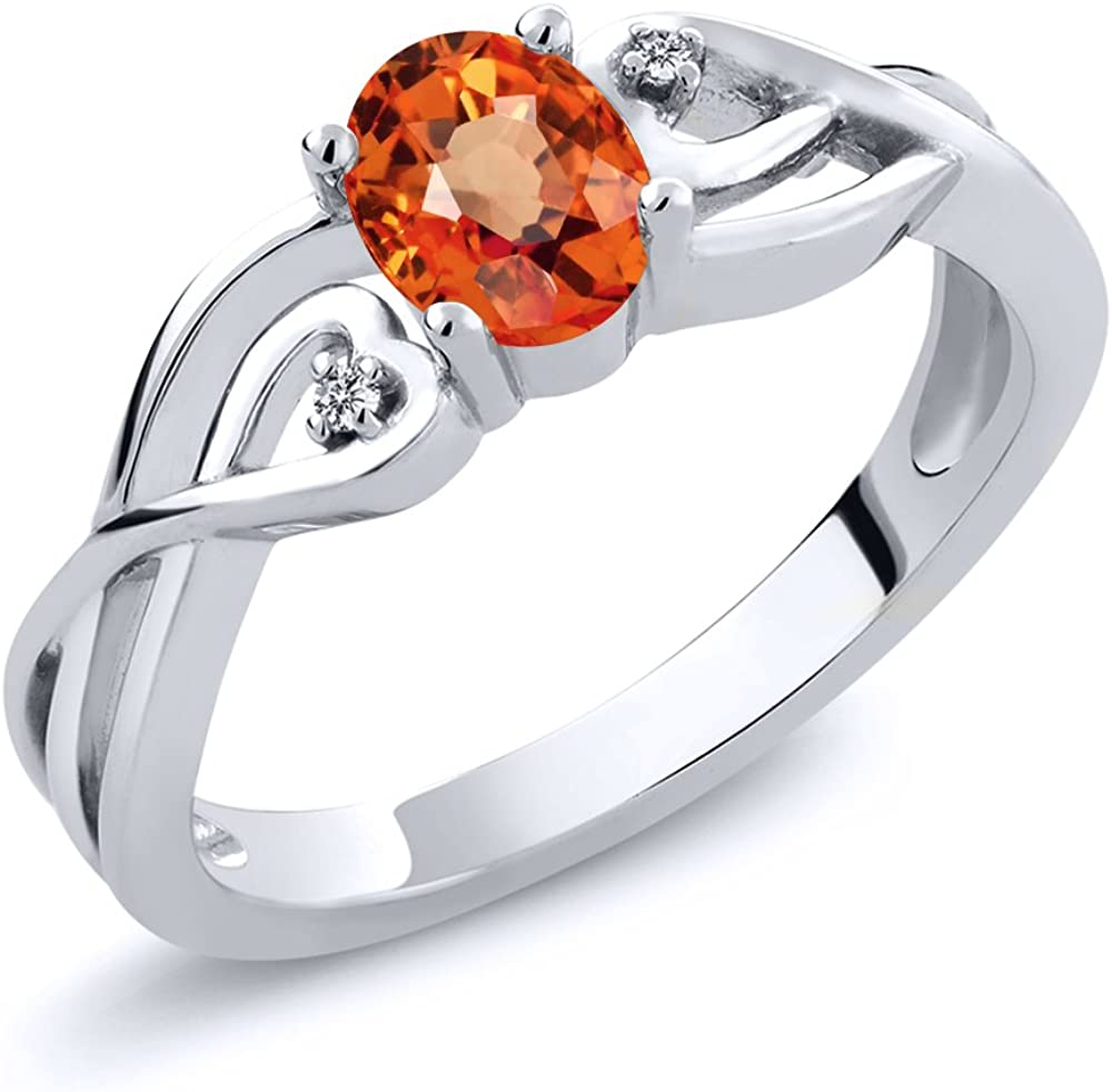 Gem Stone King 925 Sterling Silver Orange Sapphire and White Diamond Women Engagement Ring (0.56 Ct Oval, Available 5,6,7,8,9)