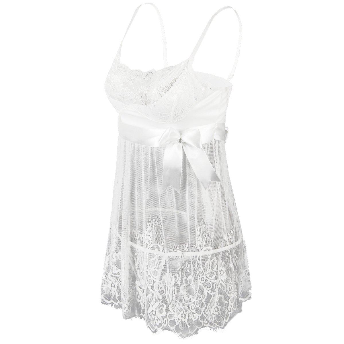 0fcfbe77d Amazon.com  EVAbaby Sexy Lingerie for Women White Lace Chemise Dress Bridal  Sleepwear Set Sheer Babydoll  Clothing