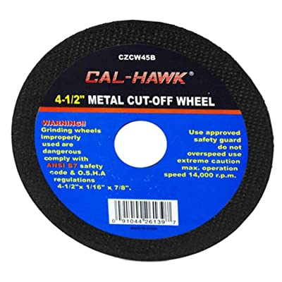 "Cal Hawk Tools CZCW45B-50PK-1 4-1/2"" Metal Cut-Off Wheel, 50 Pack"