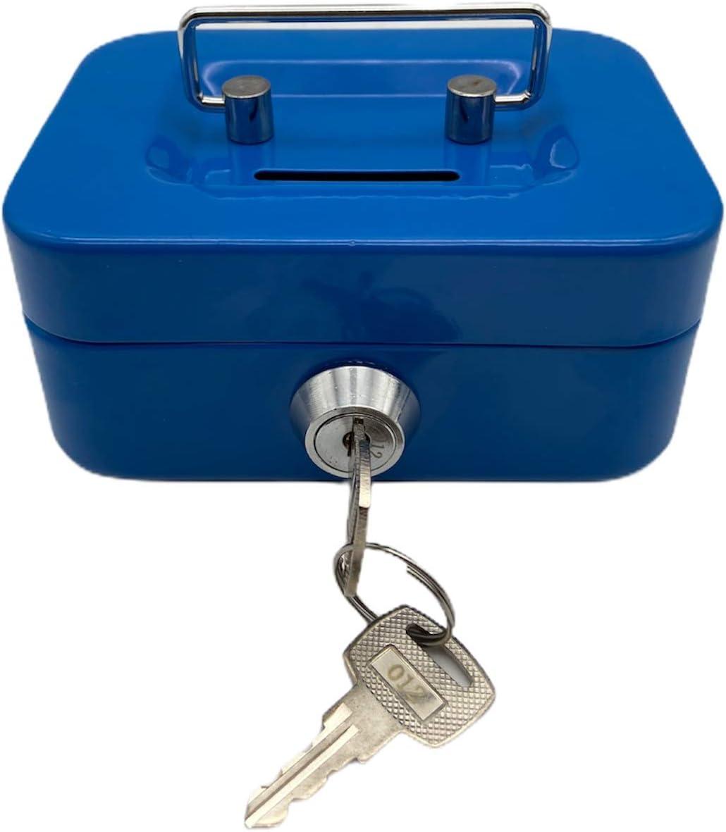 11,4 cm, incluye 2 llaves Nitaar Caja met/álica para dinero color azul
