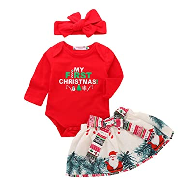 0a7f9d7b0 Amazon.com  Baby Girl Christmas Dress First Christmas Outfit Romper ...
