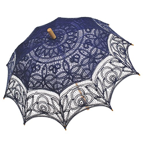 Remedios(19 colors) Lace Parasol Umbrella Wedding Bridal Decoration Royal Blue
