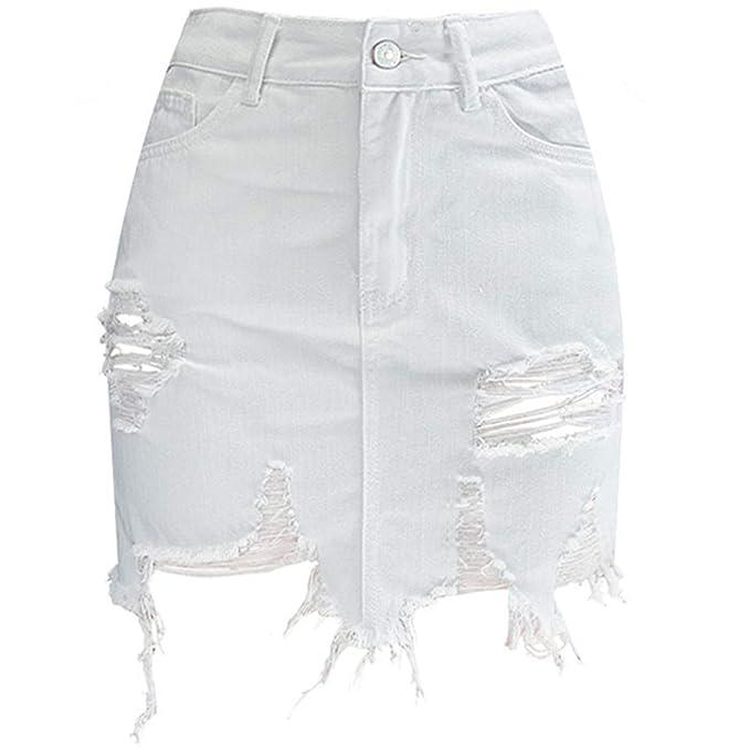 6aca49885 Exllocity Summer Women Sexy Streetwear High Waist Short Denim Skirt Hollow  Out Tassel Bodycon Cowgirl Mini Skirts at Amazon Women's Clothing store: