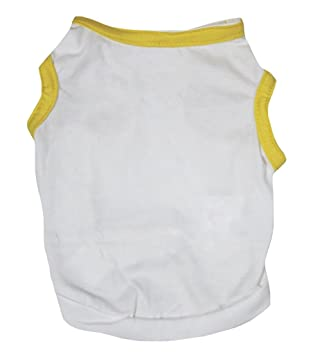 37b8fa7fae77 Petitebella Puppy Clothes Dog Dress Plain Yellow White Cotton T-Shirt  (X-Large
