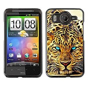 Cubierta de la caja de protección la piel dura para el HTC DESIRE HD / G10 - animal Africa predator eyes