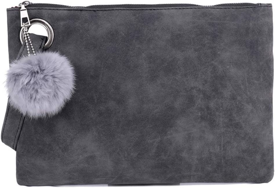 Gimax Coin Purses Color: GY Women Wallets Hairball Solid Color Leather Zipper Coin Clutch Bag portafoglio Donna portfel damski Porte monnaie Femme