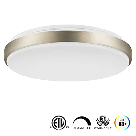 LVWIT LED Flush Mount Ceiling Light, 15 Inch Dimmable 22W(160W Equivalent)  Round