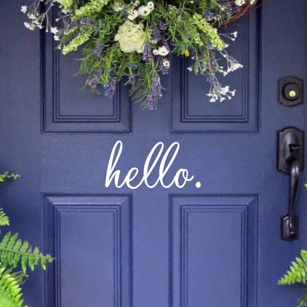 MoharWall Hello Quotes Front Door Black Decal Cursive Handwriting Office Vinyl Art Sticker Lettering Removable Décor