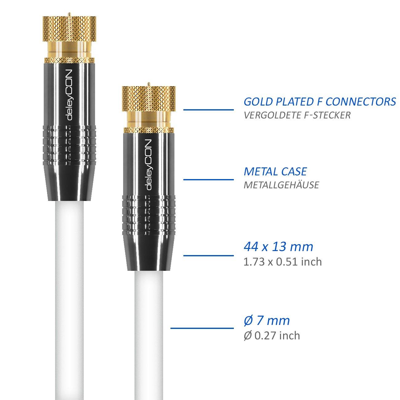 Blanco Enchufe de Metal Enchapado en Oro 2X F-Plug deleyCON 2m Sat Cable de la Antena HD por Cable v/ía Sat/élite Coaxial 100 dB para DVB-S//S2 Ultra HD 4K 1080P HDTV Full HD