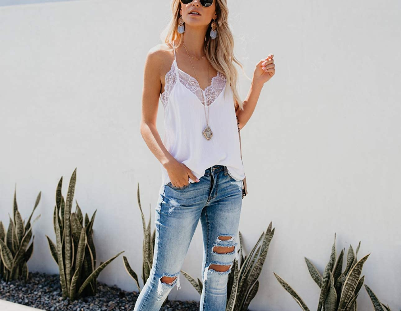 Nlyefa Womens Summer Lace Camisole Tops Casual Solid Color V Neck Vest Tees