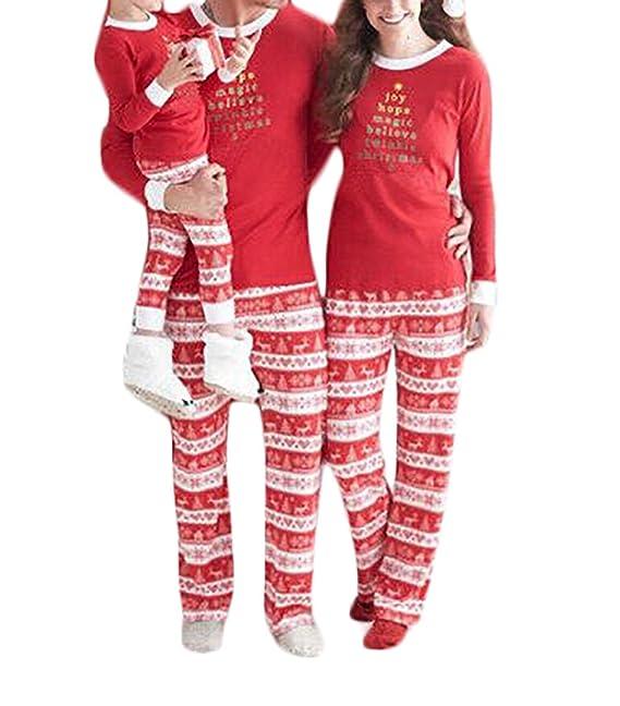 2a3e493670 Pijamas Familia Navidad A Juego Con Dos Piezas Camisetas Top+Largo  Pantalones Papá Mamá Niños